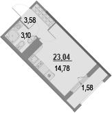 Студия, 24.62 м²