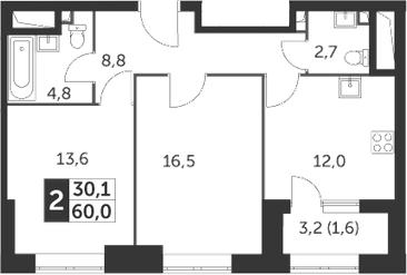 2-комнатная, 60 м²– 2
