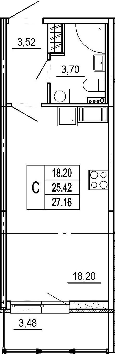 Студия, 25.42 м²– 2