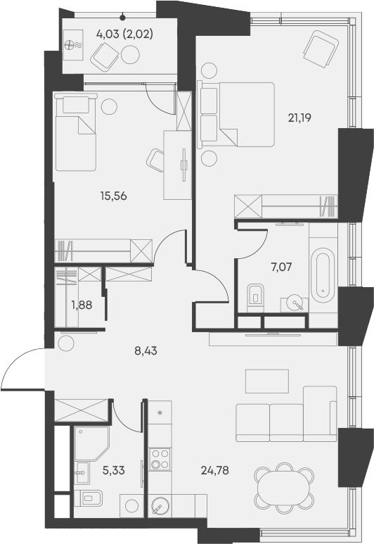 3Е-комнатная, 86.26 м²– 2