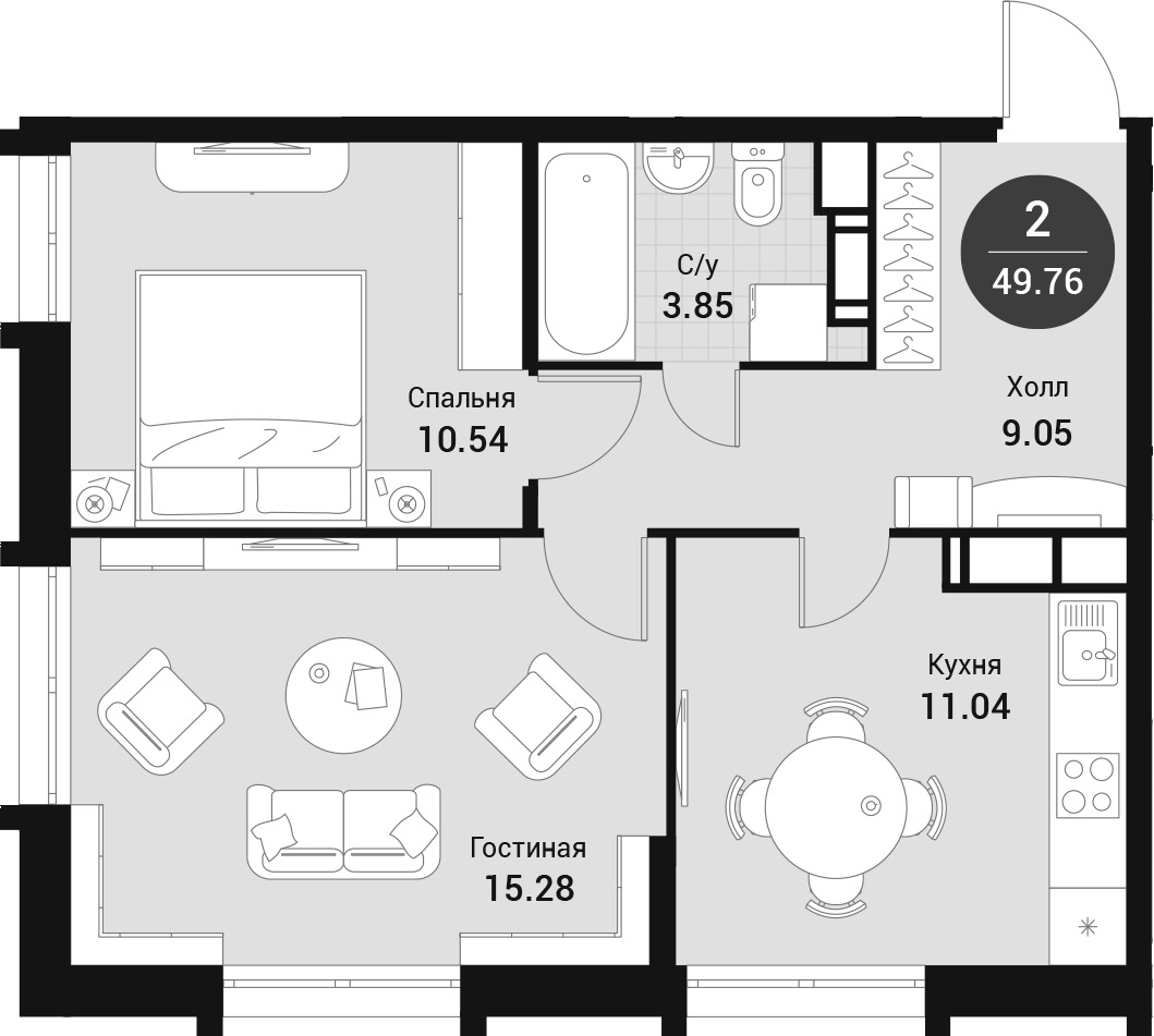 2-к.кв, 49.76 м²