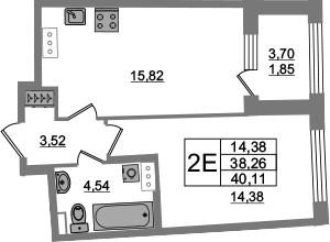 2Е-к.кв, 38.26 м², 14 этаж