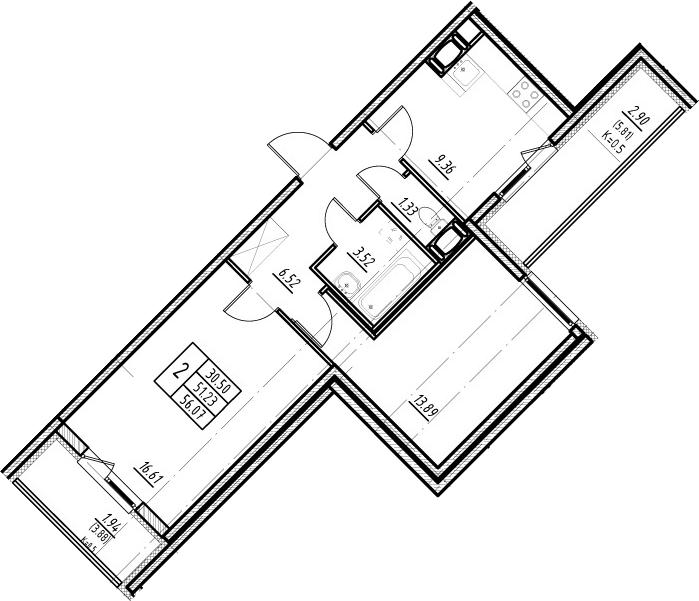 2-к.кв, 60.92 м²