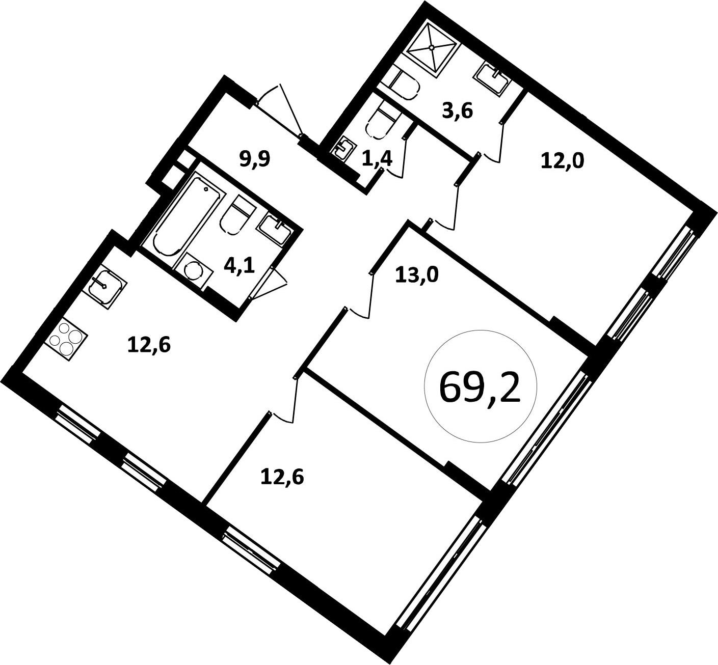 3-к.кв, 69.2 м²