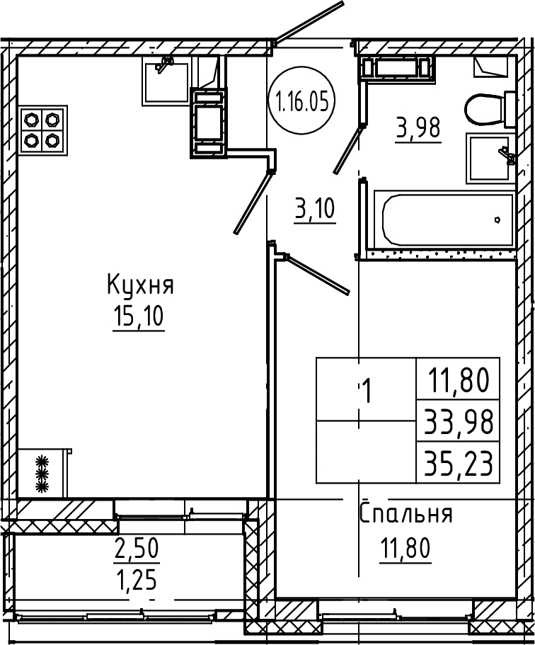 2Е-к.кв, 35.23 м², от 3 этажа
