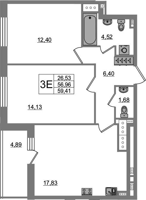 3-к.кв (евро), 61.85 м²