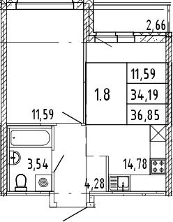 2Е-комнатная квартира, 35.52 м², 3 этаж – Планировка