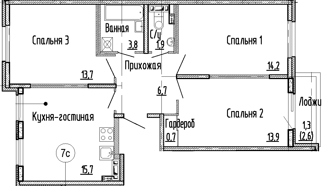 4-к.кв (евро), 73.2 м²