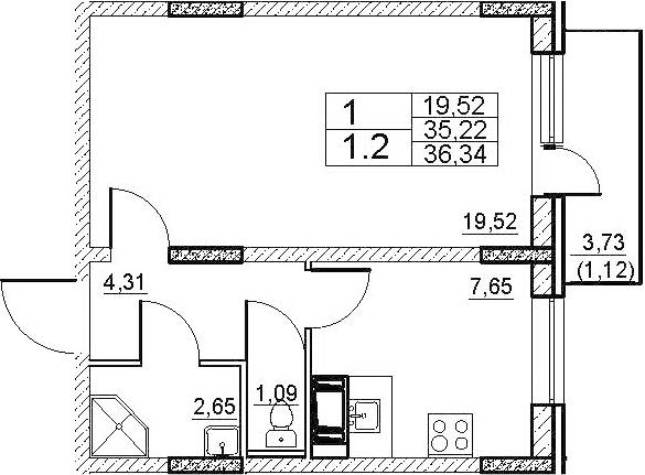 1-к.кв, 38.95 м²