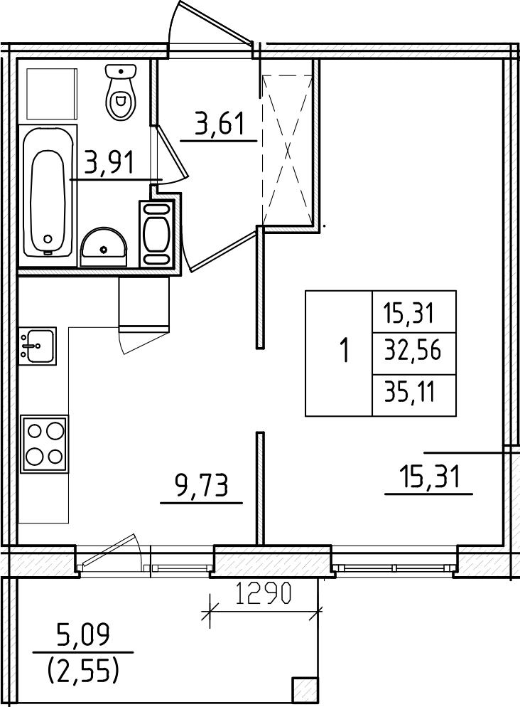 1-к.кв, 37.66 м²