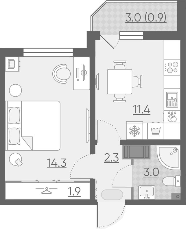 1-к.кв, 33.8 м², 2 этаж