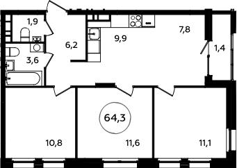 4Е-к.кв, 64.3 м², 6 этаж