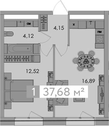 2-к.кв (евро), 37.68 м²