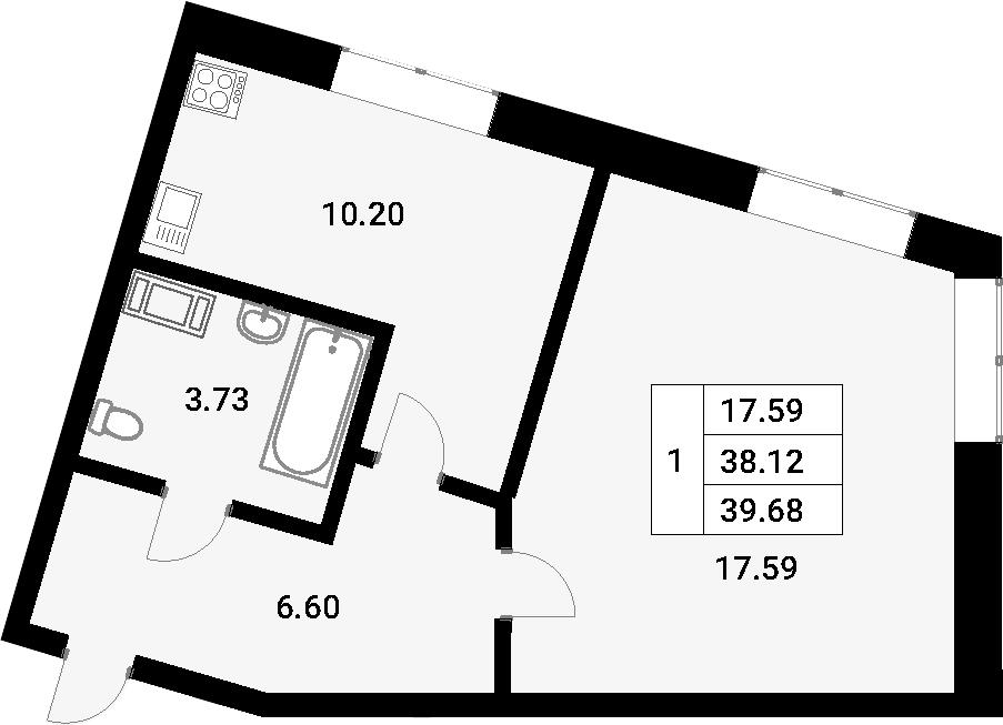 1-к.кв, 38.12 м²