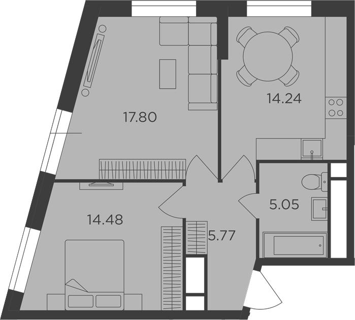 2-к.кв, 57.34 м²