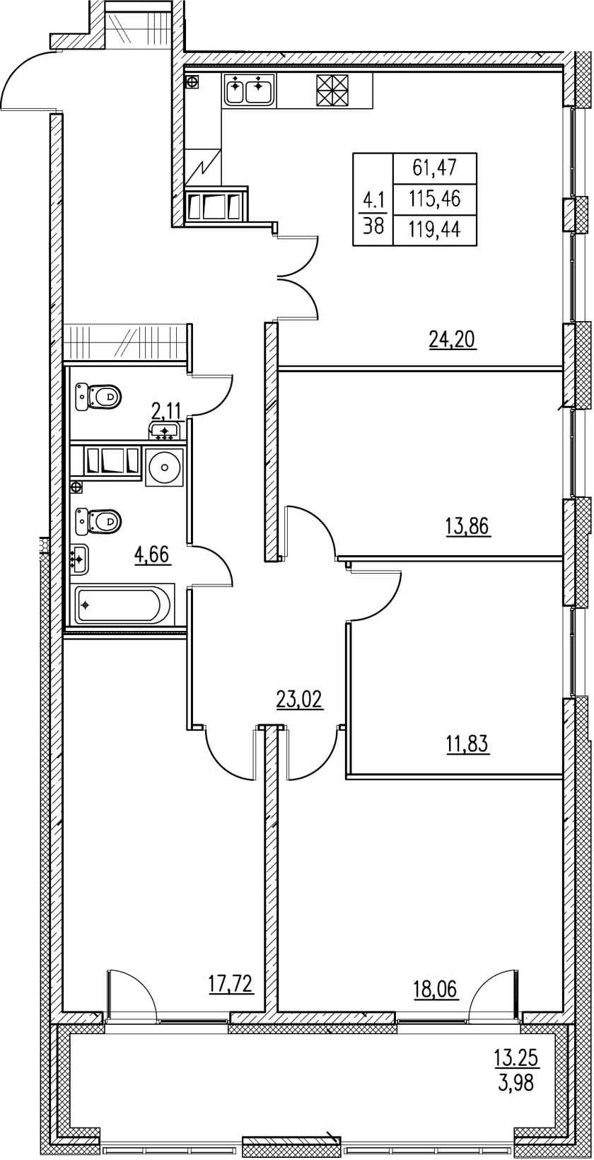 5-к.кв (евро), 130.69 м²