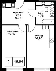 1-к.кв, 46.64 м²