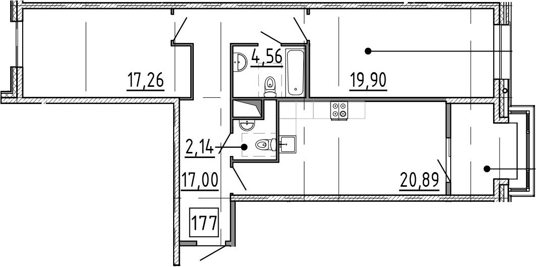 3Е-к.кв, 88.13 м², 8 этаж