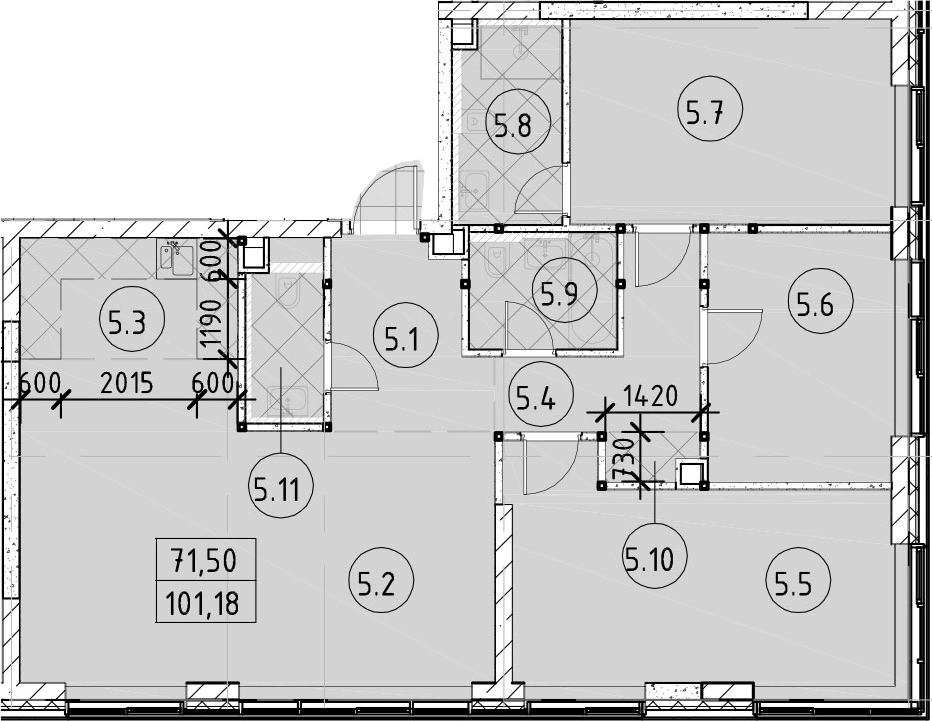4Е-комнатная, 101.18 м²– 2