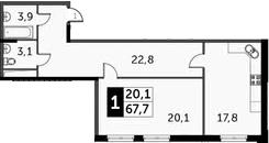 1-к.кв, 67.7 м²