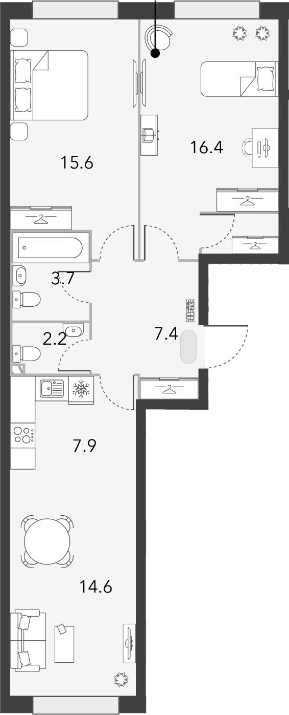 3Е-комнатная, 69.5 м²– 2