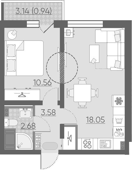 2Е-комнатная, 35.81 м²– 2
