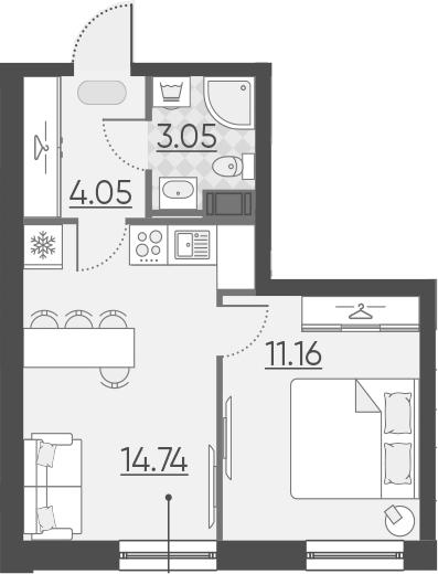 1-комнатная, 33 м²– 2
