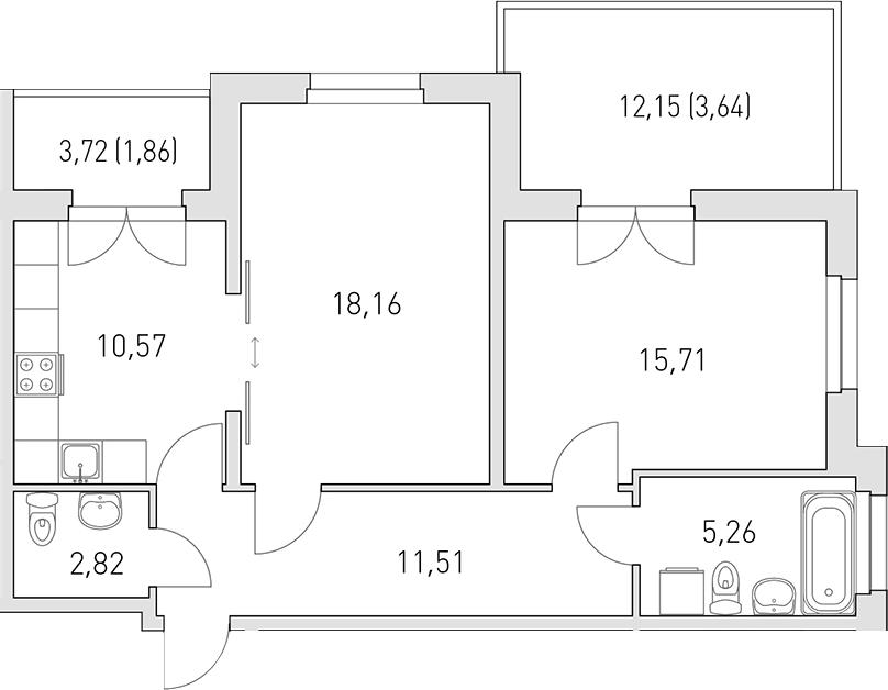 2-к.кв, 79.88 м²