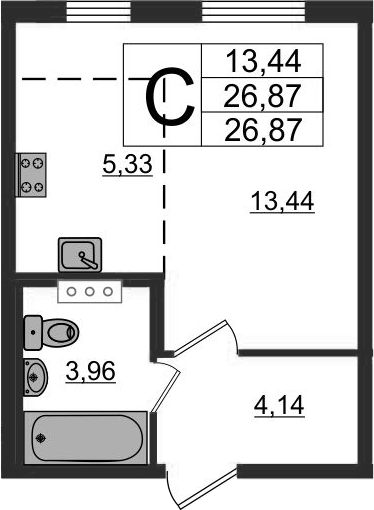 Студия, 26.87 м²