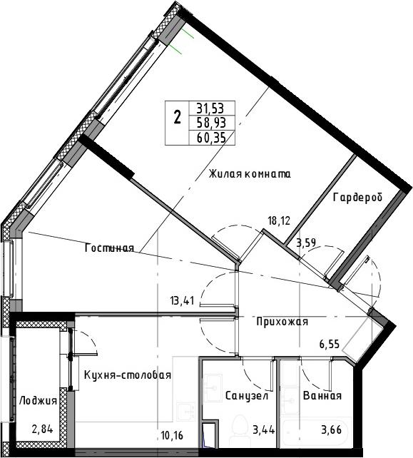 2-к.кв, 61.77 м²