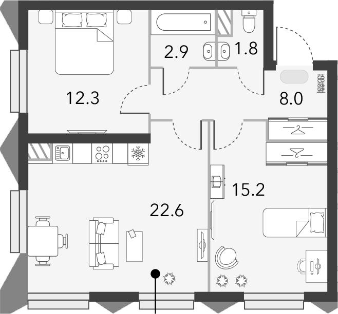 3Е-комнатная, 62.8 м²– 2