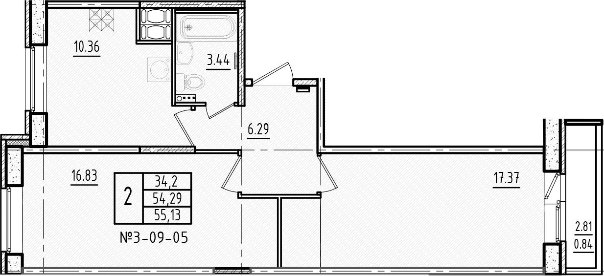 2-комнатная, 55.13 м²– 2