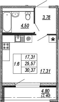Студия, 25.57 м², от 4 этажа