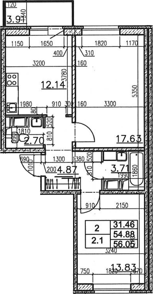 2-к.кв, 58.78 м²