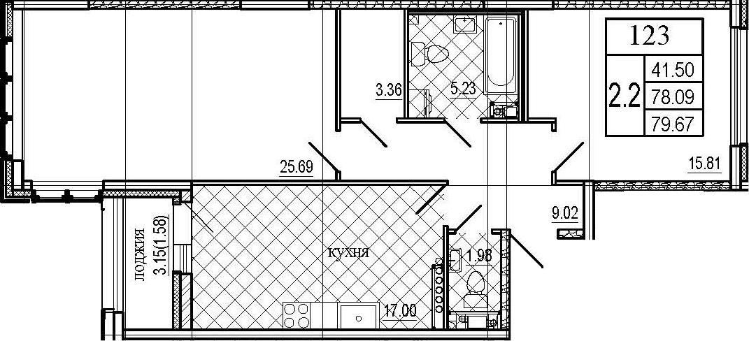 3Е-к.кв, 79.67 м²