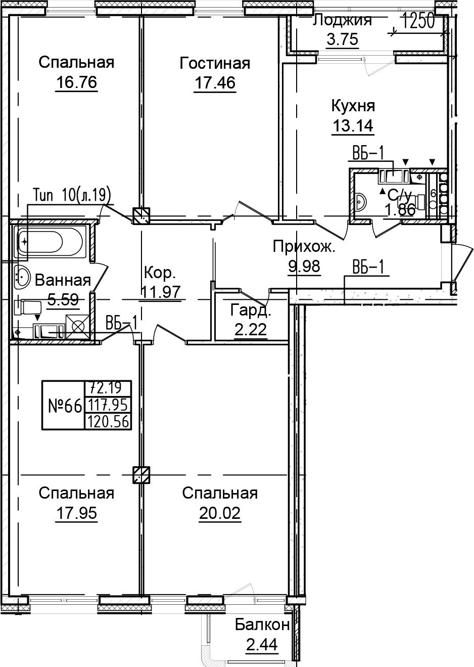 4-к.кв, 124.13 м²