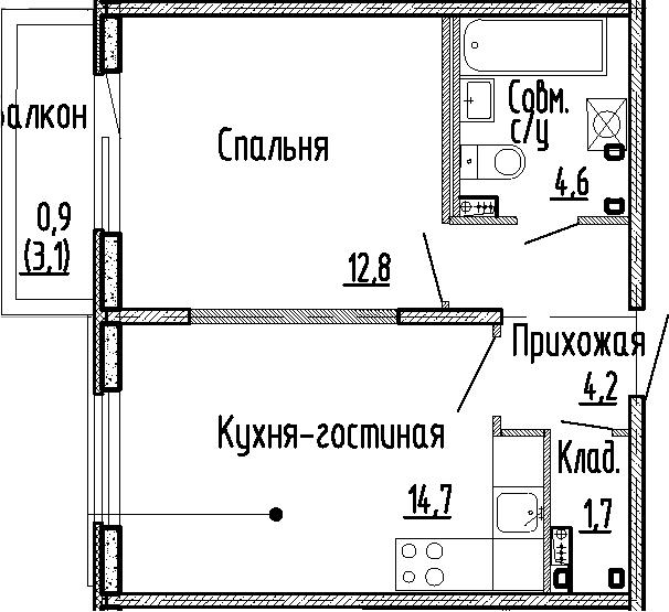 1-комнатная, 38 м²– 2