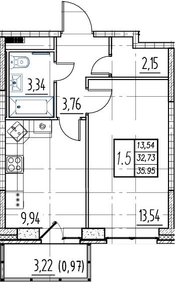 1-комнатная, 32.73 м²– 2