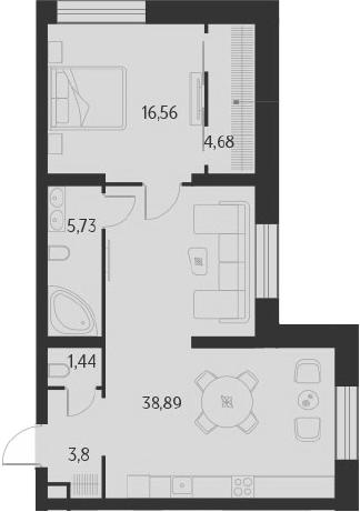 2-к.кв (евро), 71.1 м²
