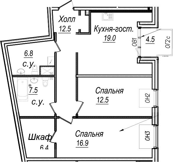 3Е-к.кв, 90.1 м², 7 этаж