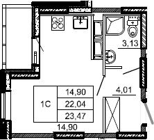 Студия, 23.47 м², 7 этаж – Планировка