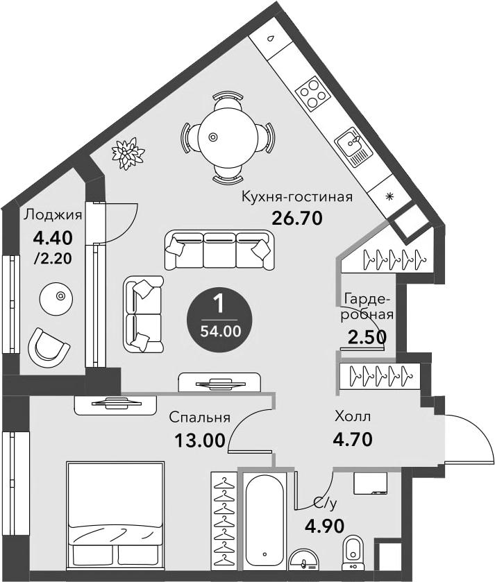 2-к.кв (евро), 56.2 м²