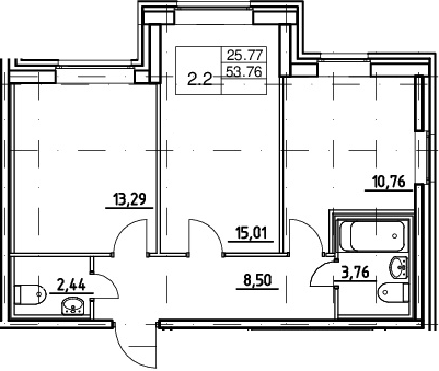 2-к.кв, 53.76 м²