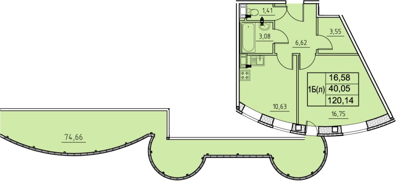 1-к.кв, 120.14 м²