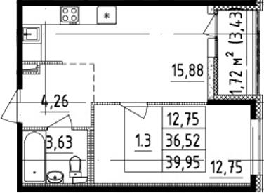 2Е-комнатная, 36.52 м²– 2