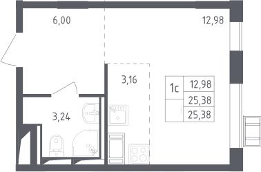Студия, 25.38 м², 10 этаж