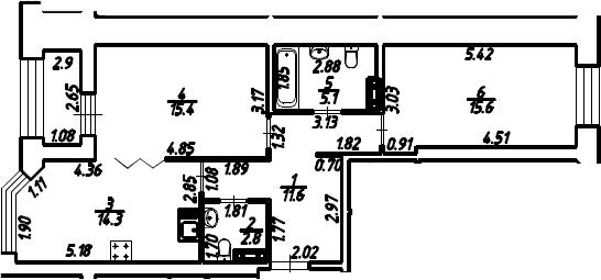 2-к.кв, 66.25 м², 8 этаж