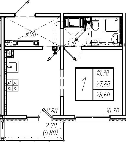 1-к.кв, 28.6 м², от 22 этажа