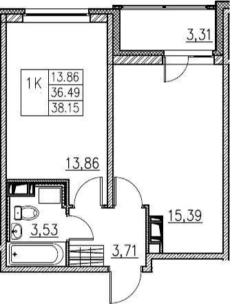 2Е-комнатная, 38.15 м²– 2