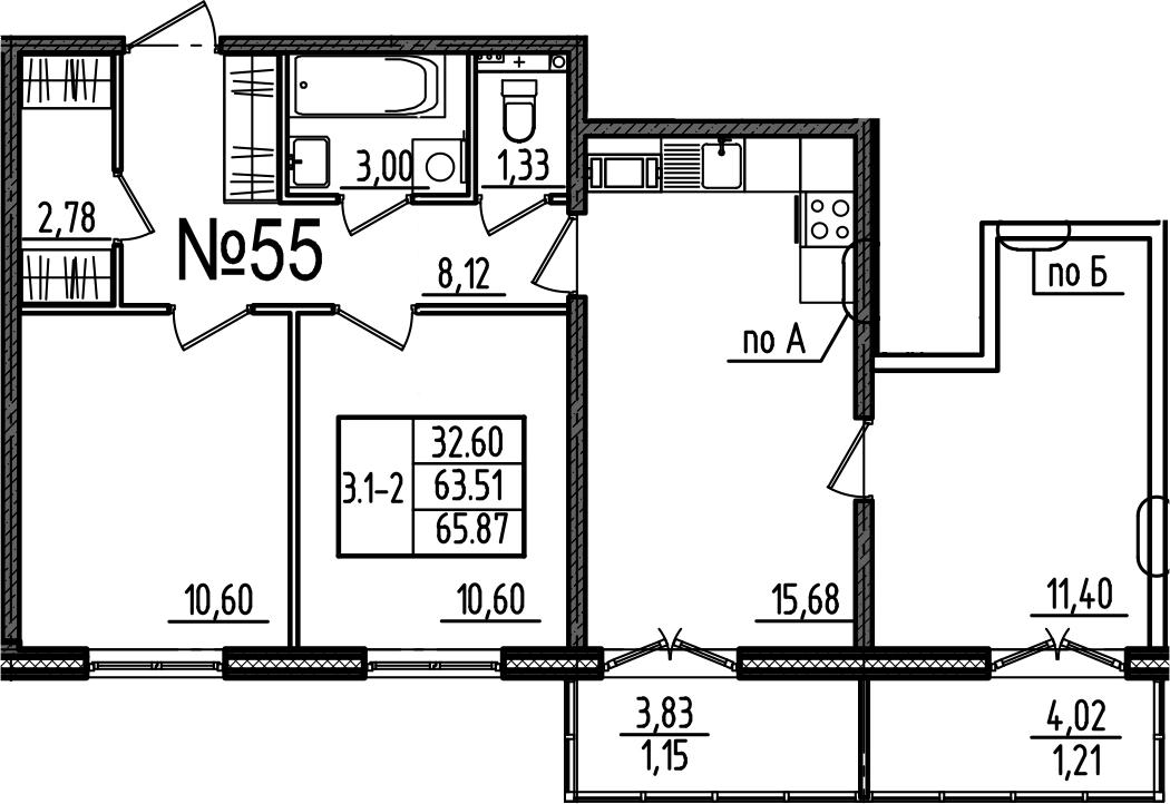 4Е-комнатная, 65.87 м²– 2